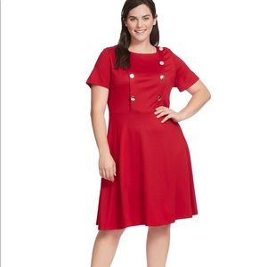 Eloquii Button Front Fit & Flare Dress 18W
